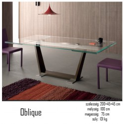 015 Oblique bővíthető étkezőasztal 02 Bővíthető étkezőasztal Olasz modern stílus