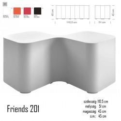 040 Friends 201 polietilén kültéri dupla puff 03 Műanyag vendéglátó bútorok Olasz modern stílus