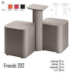 040 Friends 201+202 polietilén kültéri dupla puff és asztal 03 Műanyag vendéglátó bútorok Olasz modern stílus