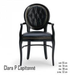 025 Clara P Capitonné karfás szék 05 Favázas karosszékek Olasz modern stílus